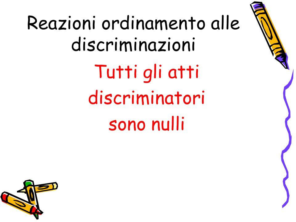 Reazioni ordinamento alle discriminazioni