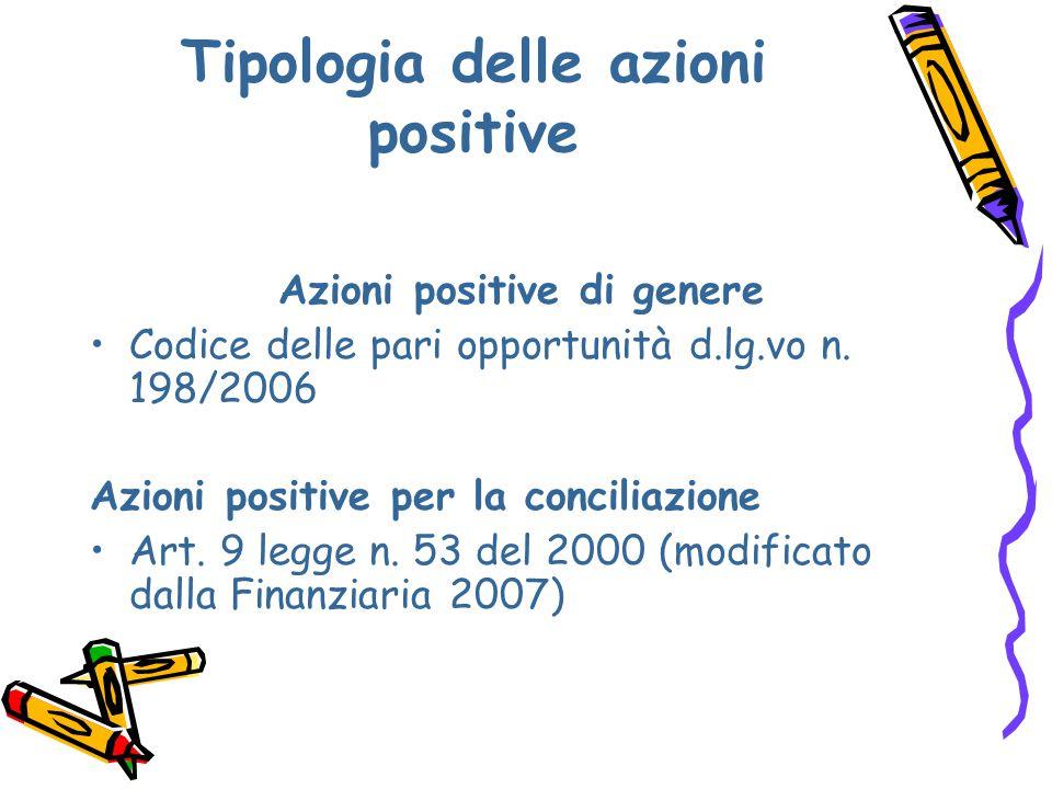 Tipologia delle azioni positive