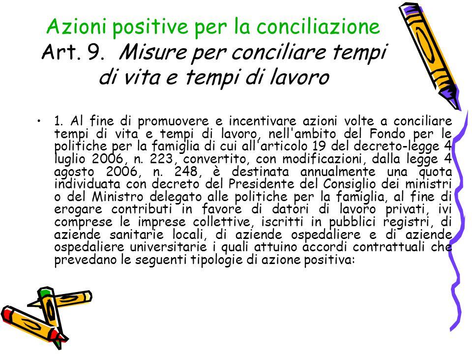 Azioni positive per la conciliazione Art. 9