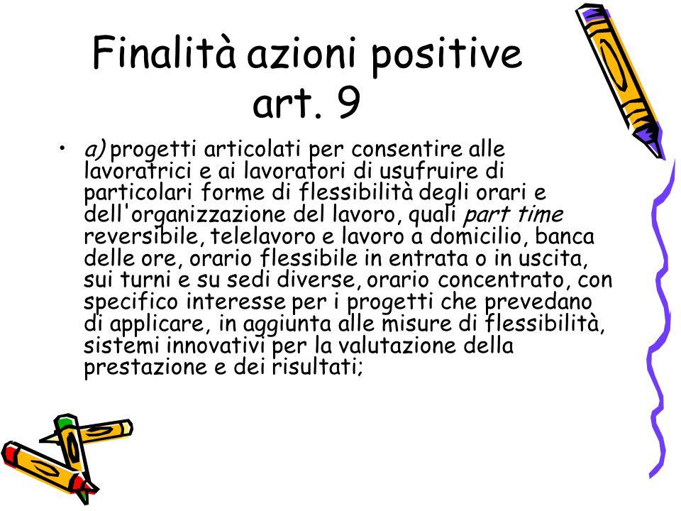 Finalità azioni positive art. 9