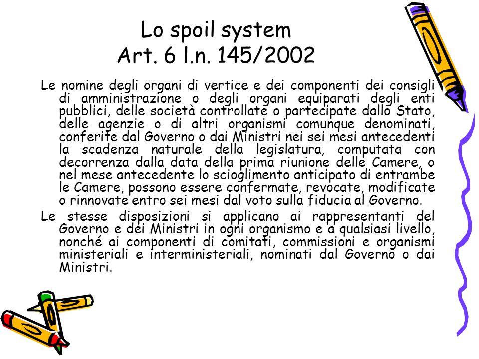 Lo spoil system Art. 6 l.n. 145/2002