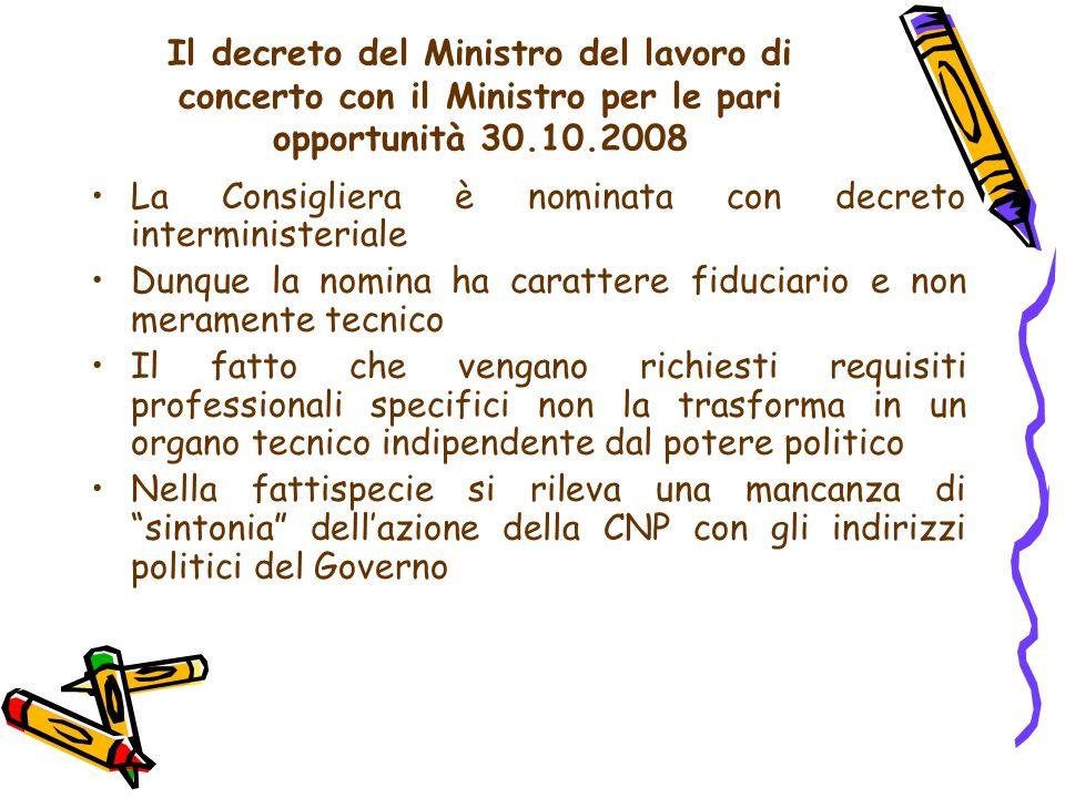 Il decreto del Ministro del lavoro di concerto con il Ministro per le pari opportunità 30.10.2008