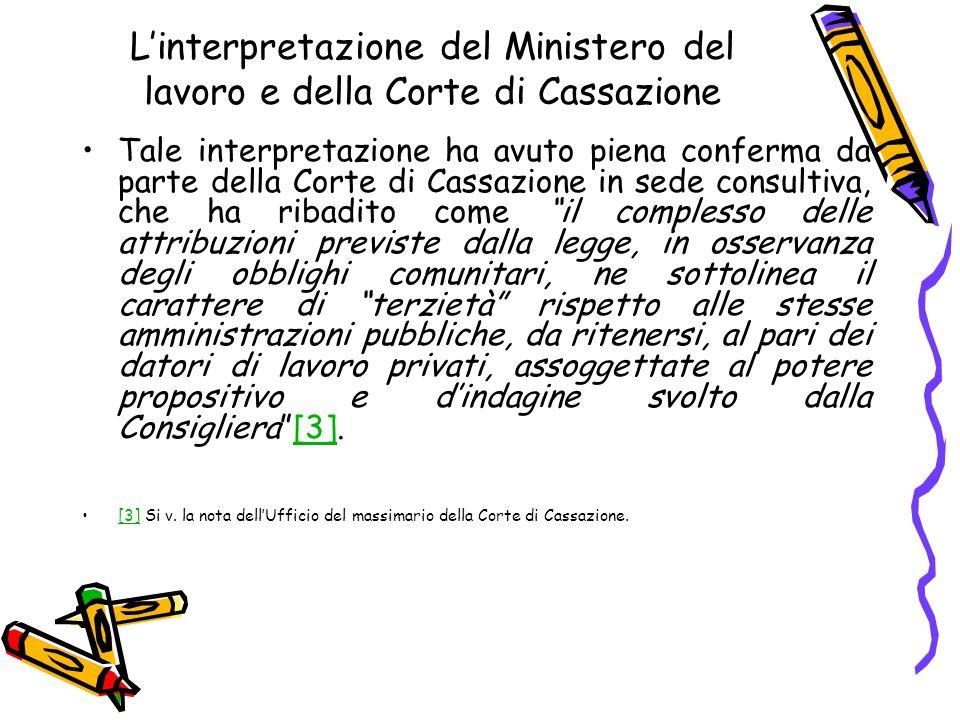 L'interpretazione del Ministero del lavoro e della Corte di Cassazione