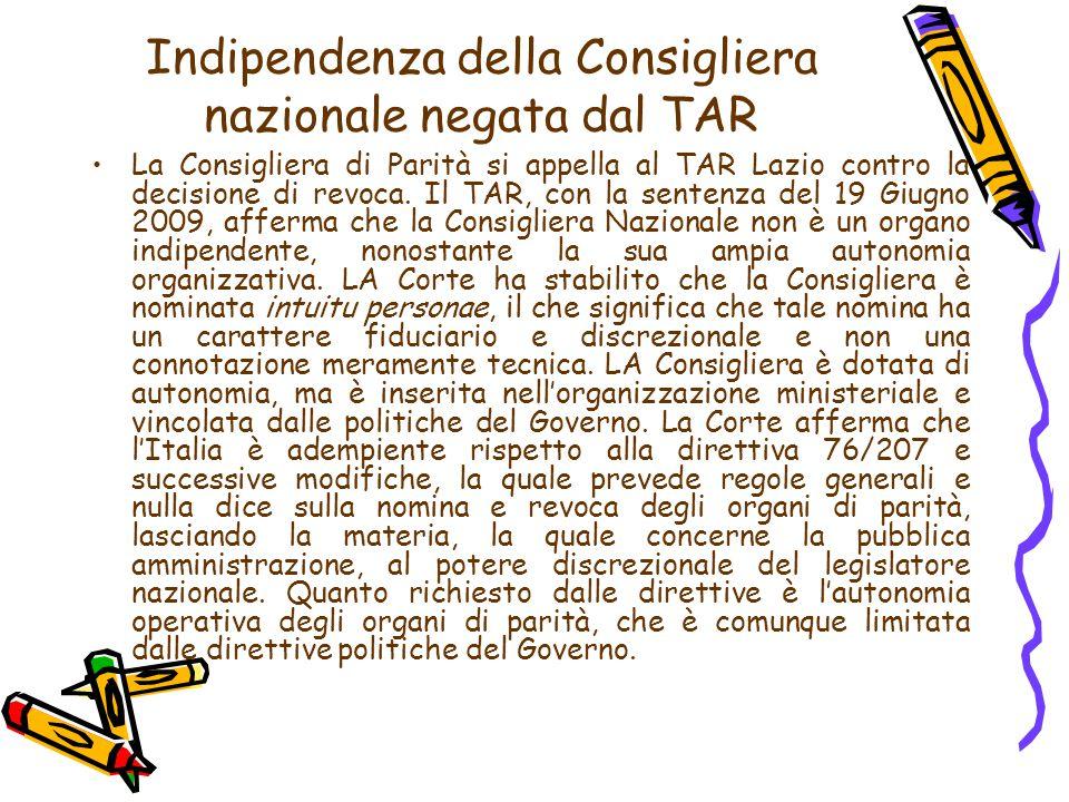 Indipendenza della Consigliera nazionale negata dal TAR