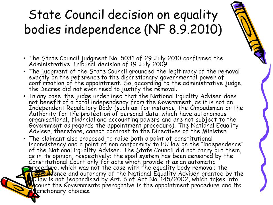 State Council decision on equality bodies independence (NF 8.9.2010)