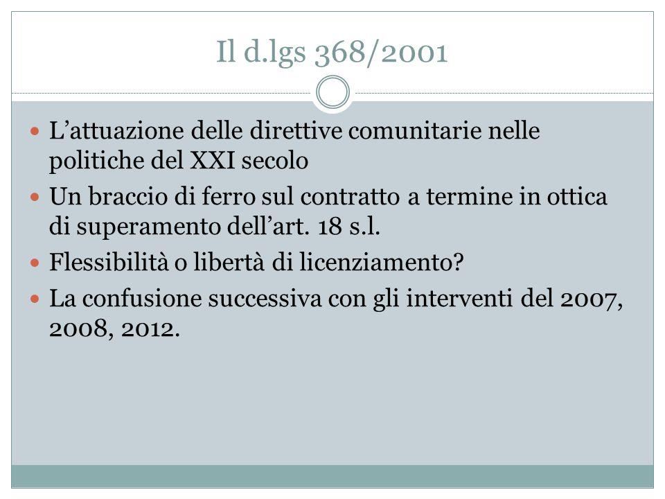 Il d.lgs 368/2001 L'attuazione delle direttive comunitarie nelle politiche del XXI secolo.