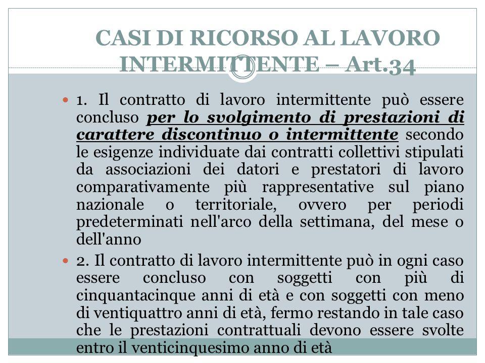 CASI DI RICORSO AL LAVORO INTERMITTENTE – Art.34