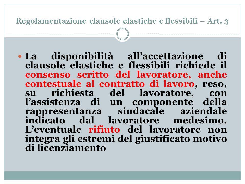 Regolamentazione clausole elastiche e flessibili – Art. 3