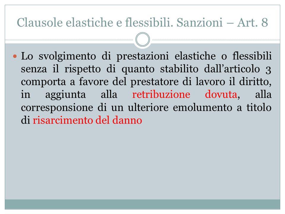 Clausole elastiche e flessibili. Sanzioni – Art. 8