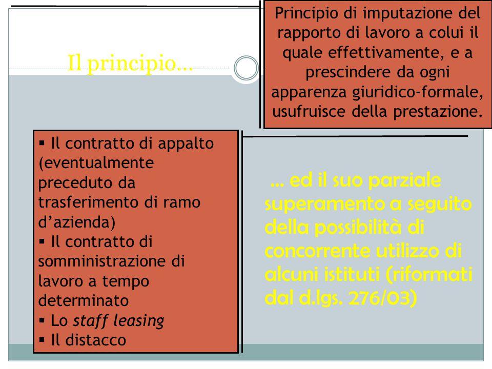 Principio di imputazione del rapporto di lavoro a colui il quale effettivamente, e a prescindere da ogni apparenza giuridico-formale, usufruisce della prestazione.