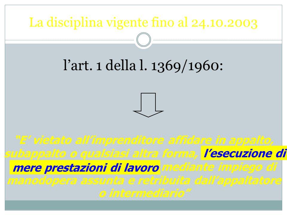 La disciplina vigente fino al 24.10.2003