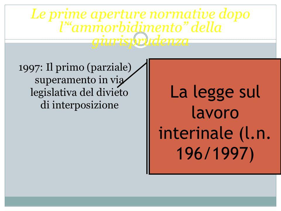 La legge sul lavoro interinale (l.n. 196/1997)