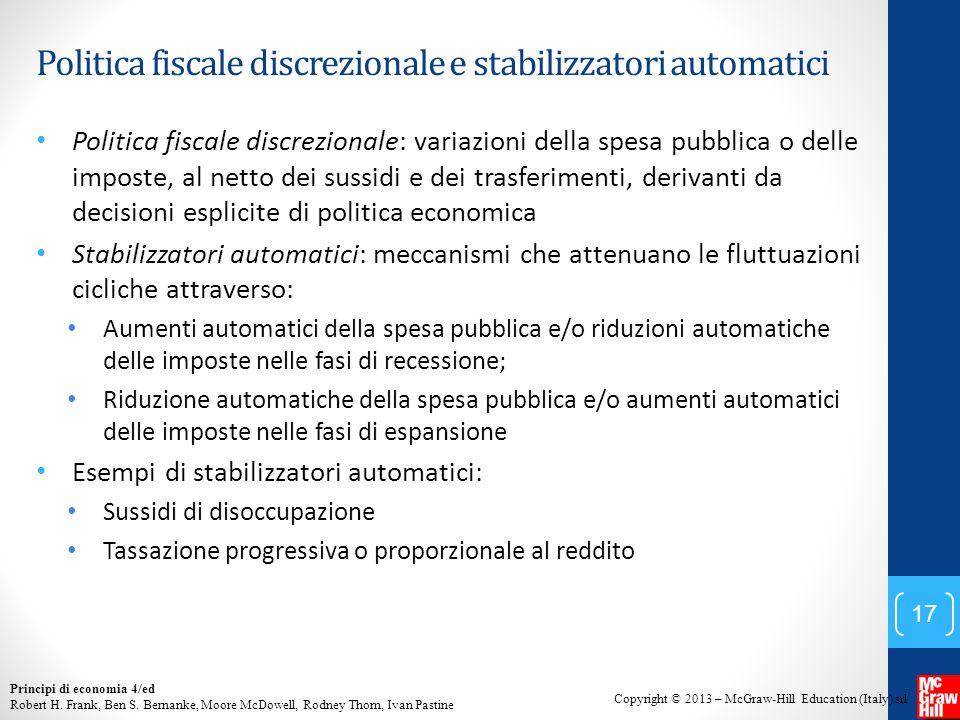 Politica fiscale discrezionale e stabilizzatori automatici