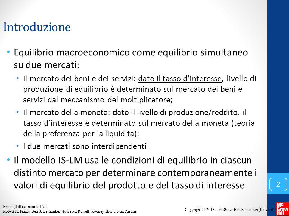 Introduzione Equilibrio macroeconomico come equilibrio simultaneo su due mercati: