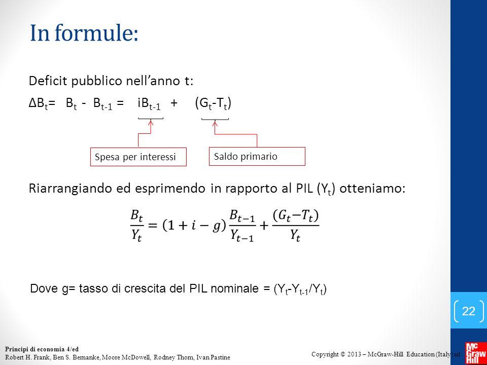 In formule: Deficit pubblico nell'anno t: ∆Bt= Bt - Bt-1 = iBt-1 + (Gt-Tt) Riarrangiando ed esprimendo in rapporto al PIL (Yt) otteniamo: