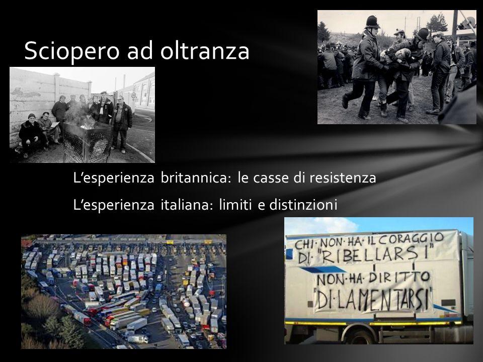 Sciopero ad oltranza L'esperienza britannica: le casse di resistenza L'esperienza italiana: limiti e distinzioni