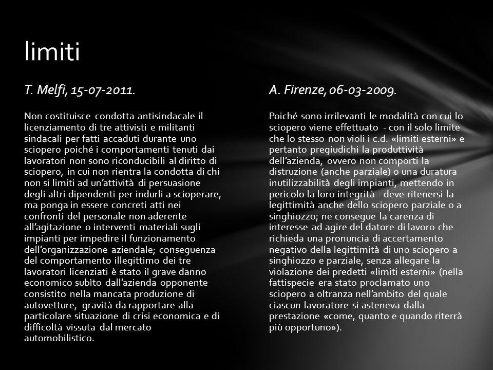 limiti T. Melfi, 15-07-2011. A. Firenze, 06-03-2009.