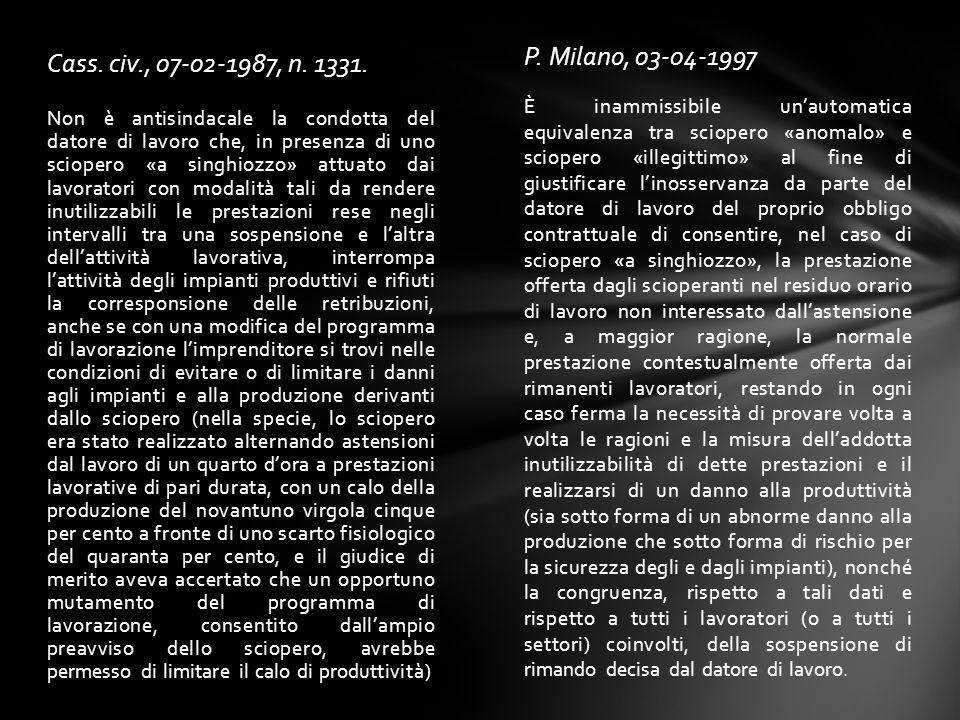 P. Milano, 03-04-1997 Cass. civ., 07-02-1987, n. 1331.