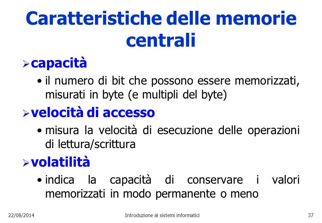 Caratteristiche delle memorie centrali