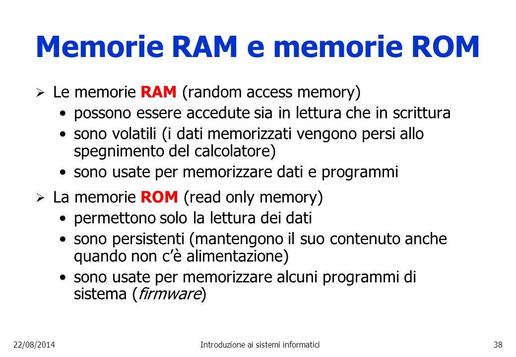 Memorie RAM e memorie ROM