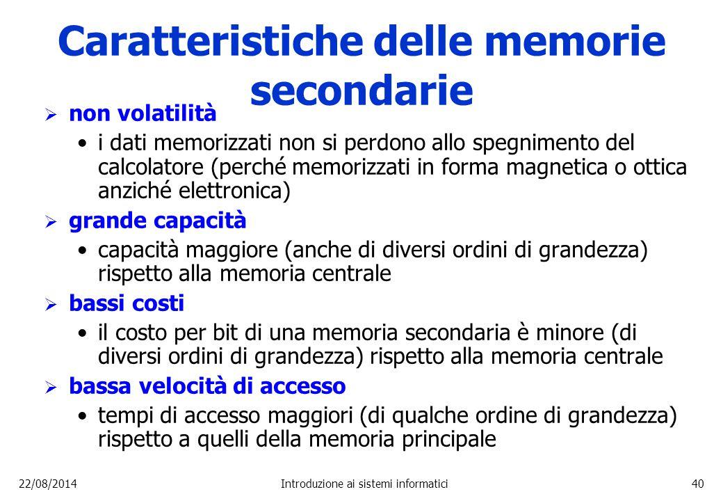 Caratteristiche delle memorie secondarie