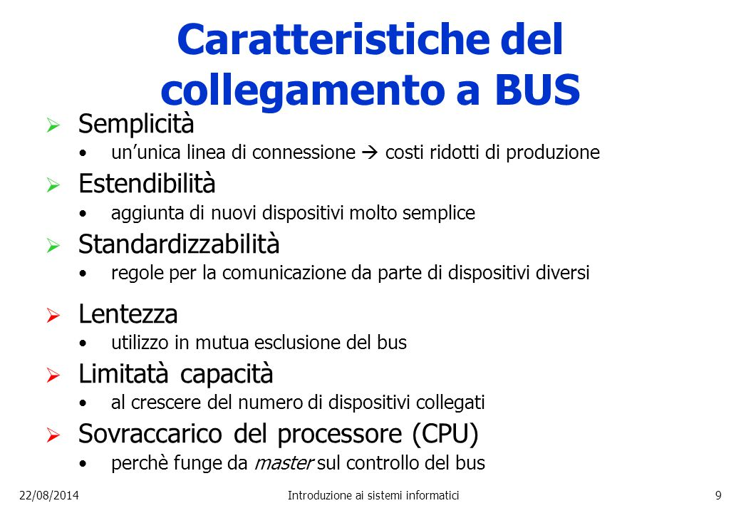 Caratteristiche del collegamento a BUS