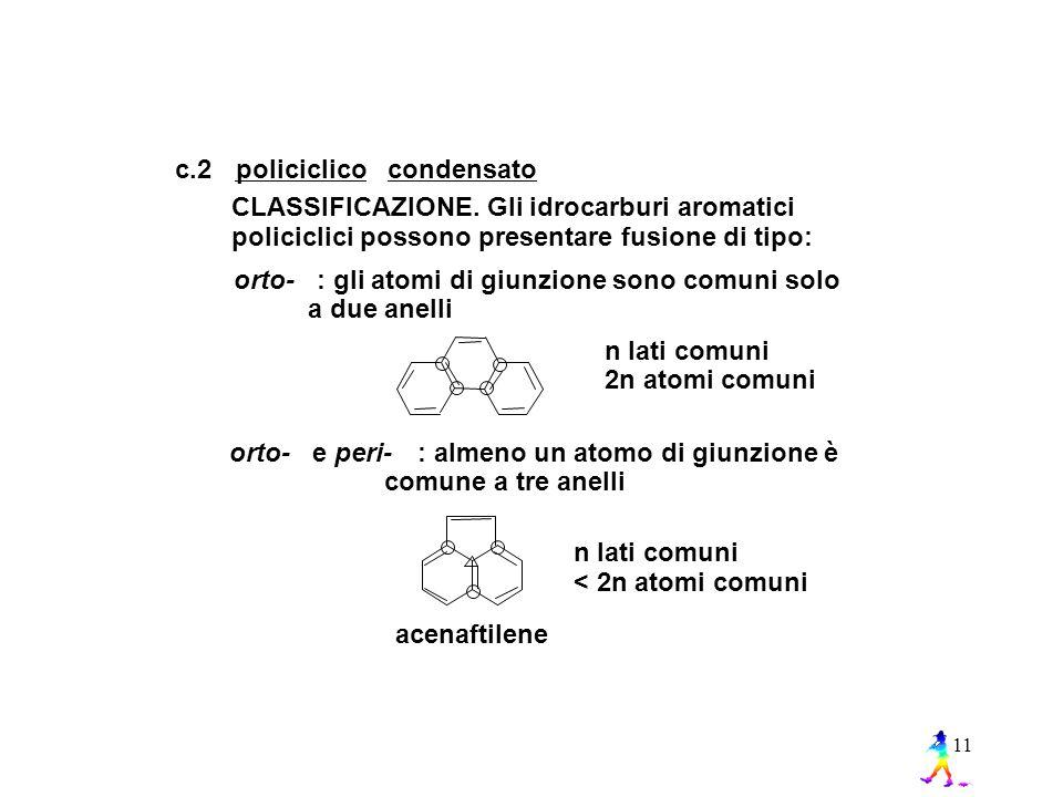 c.2 policiclico. condensato. CLASSIFICAZIONE. Gli idrocarburi aromatici. policiclici possono presentare fusione di tipo: