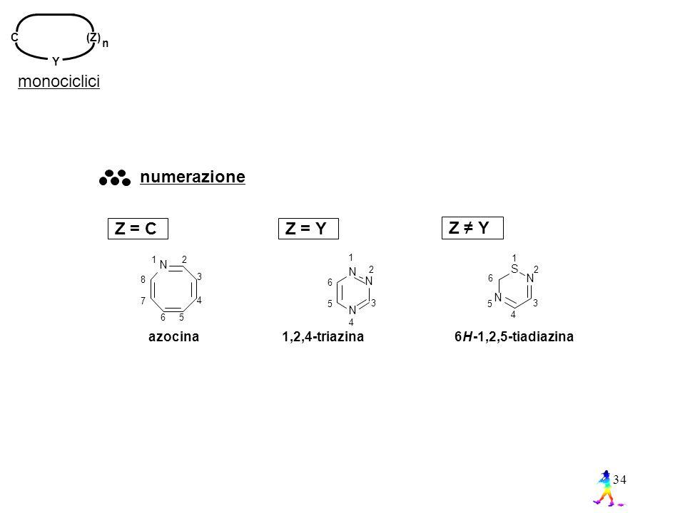 monociclici Z = C numerazione Z = Y Z ≠ Y azocina 1,2,4-triazina 6 H