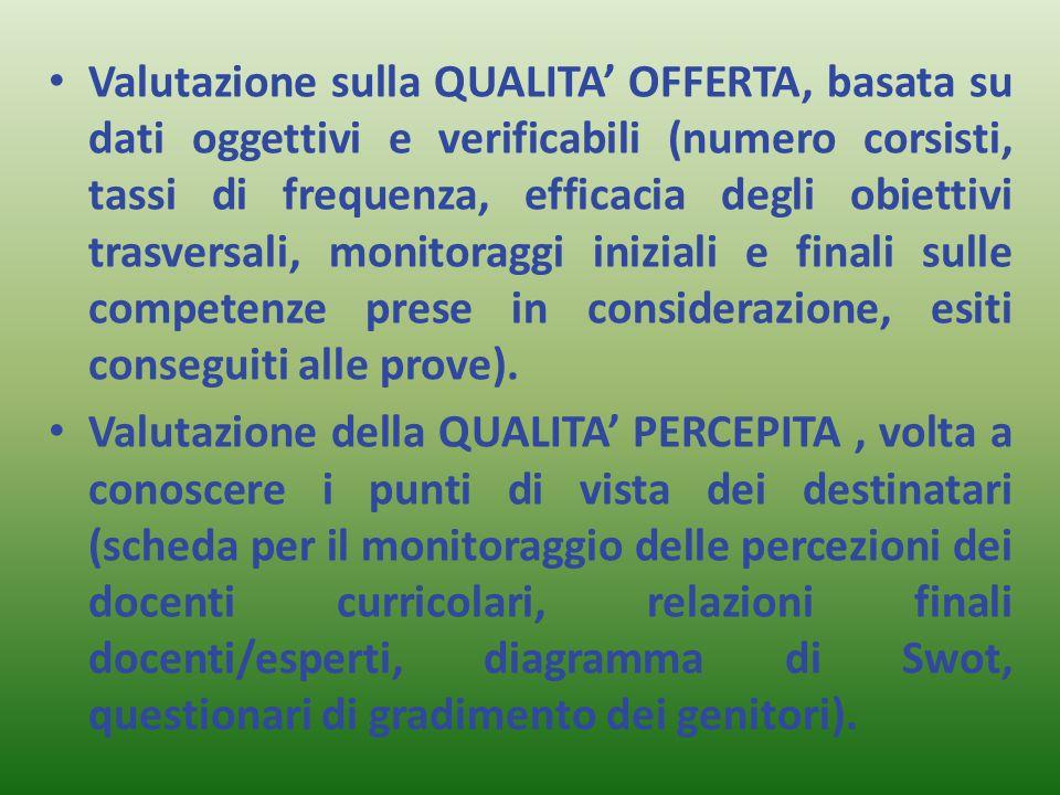 Valutazione sulla QUALITA' OFFERTA, basata su dati oggettivi e verificabili (numero corsisti, tassi di frequenza, efficacia degli obiettivi trasversali, monitoraggi iniziali e finali sulle competenze prese in considerazione, esiti conseguiti alle prove).
