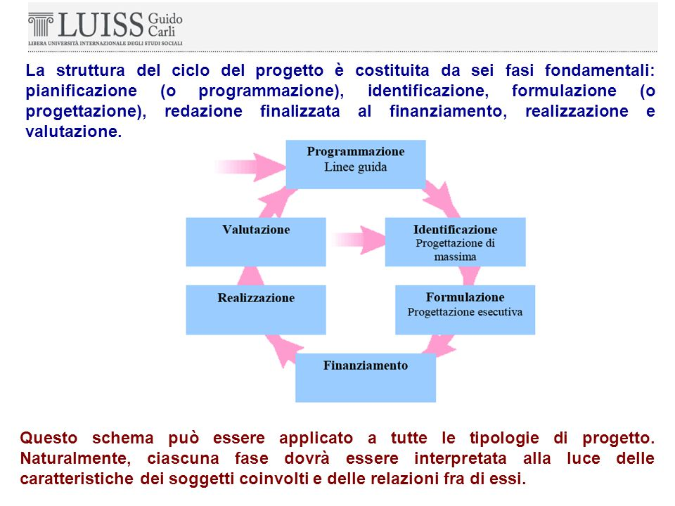 La struttura del ciclo del progetto è costituita da sei fasi fondamentali: pianificazione (o programmazione), identificazione, formulazione (o progettazione), redazione finalizzata al finanziamento, realizzazione e valutazione.