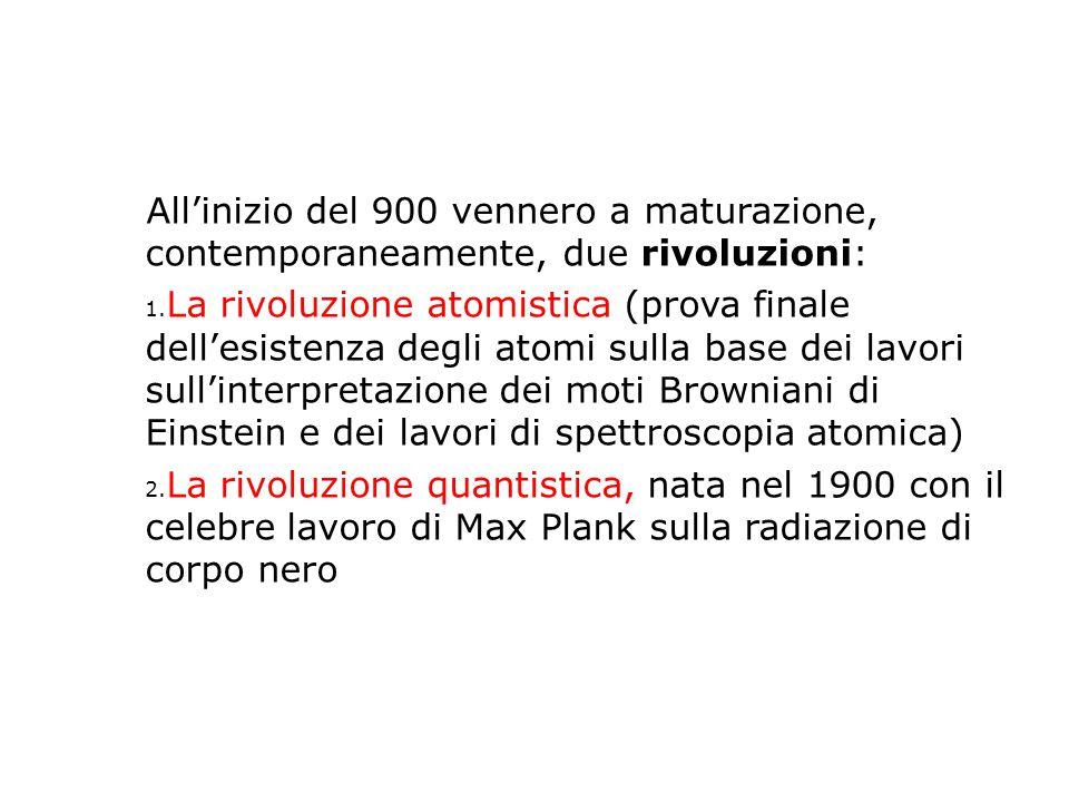 All'inizio del 900 vennero a maturazione, contemporaneamente, due rivoluzioni: