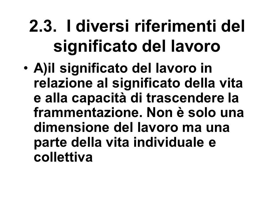 2.3. I diversi riferimenti del significato del lavoro