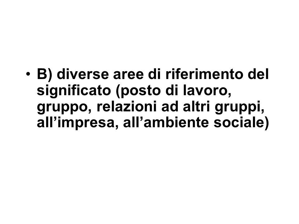 B) diverse aree di riferimento del significato (posto di lavoro, gruppo, relazioni ad altri gruppi, all'impresa, all'ambiente sociale)