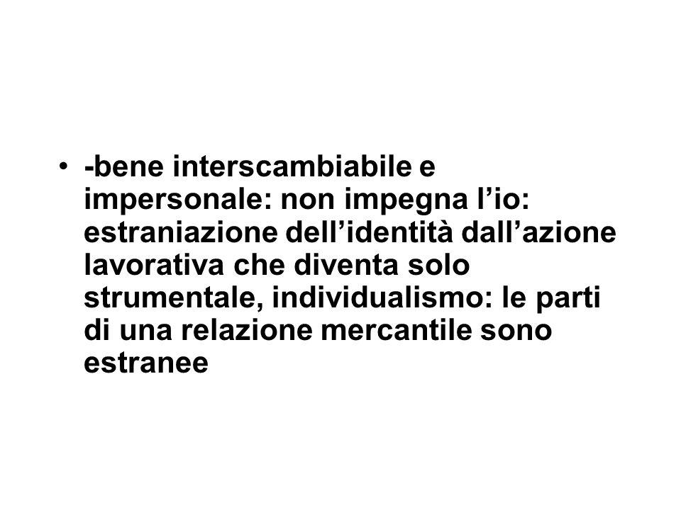 -bene interscambiabile e impersonale: non impegna l'io: estraniazione dell'identità dall'azione lavorativa che diventa solo strumentale, individualismo: le parti di una relazione mercantile sono estranee