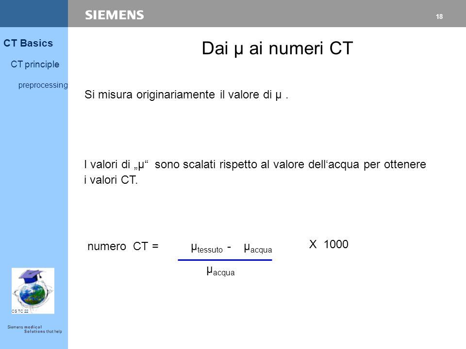 Dai µ ai numeri CT Si misura originariamente il valore di µ .