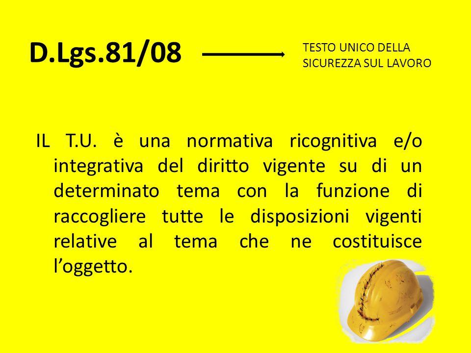 D.Lgs.81/08 TESTO UNICO DELLA SICUREZZA SUL LAVORO.