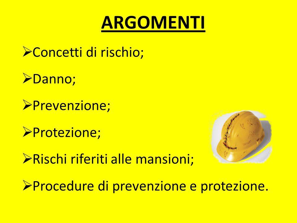 ARGOMENTI Concetti di rischio; Danno; Prevenzione; Protezione;