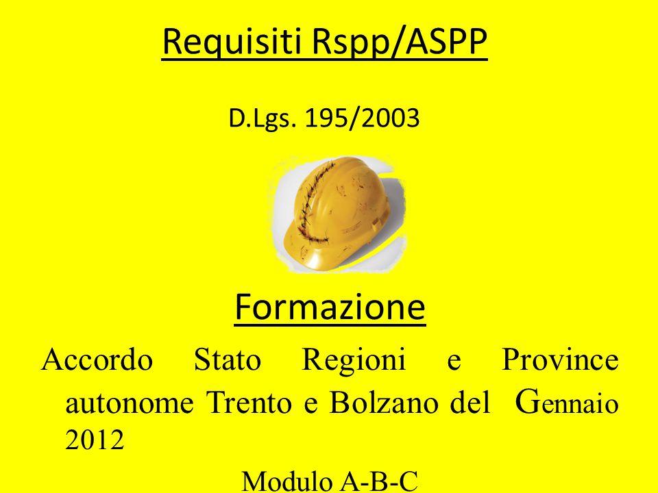 Requisiti Rspp/ASPP D.Lgs. 195/2003