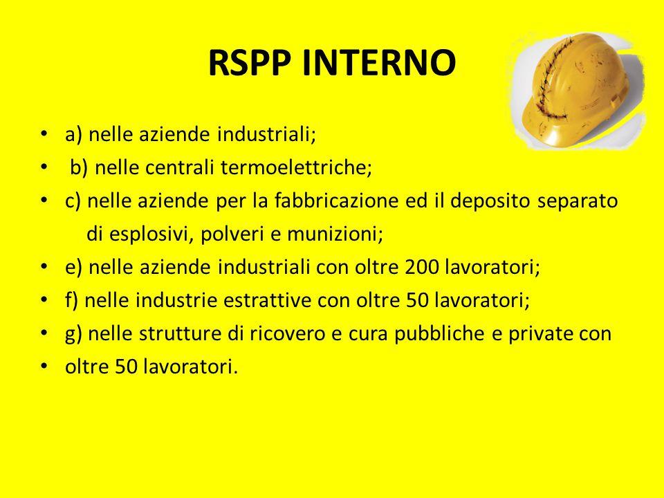 RSPP INTERNO a) nelle aziende industriali;