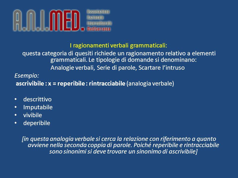 I ragionamenti verbali grammaticali: