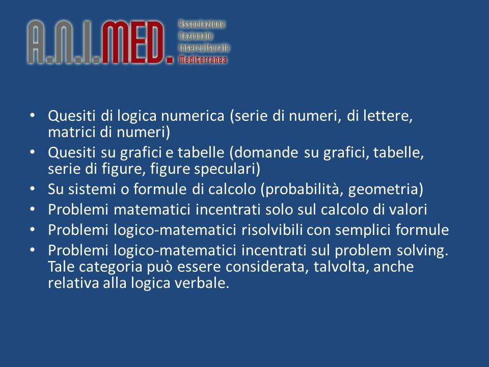 Quesiti di logica numerica (serie di numeri, di lettere, matrici di numeri)