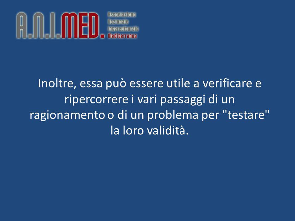 Inoltre, essa può essere utile a verificare e ripercorrere i vari passaggi di un ragionamento o di un problema per testare la loro validità.