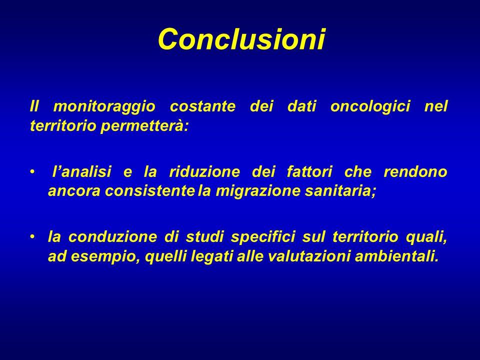 Conclusioni Il monitoraggio costante dei dati oncologici nel territorio permetterà: