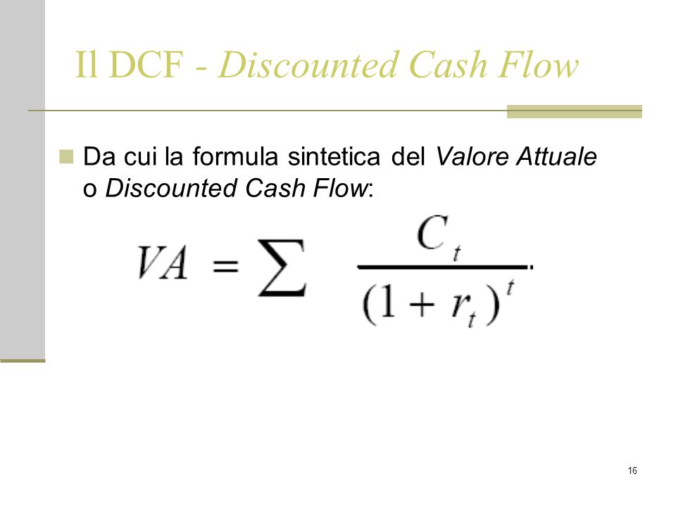 Il DCF - Discounted Cash Flow