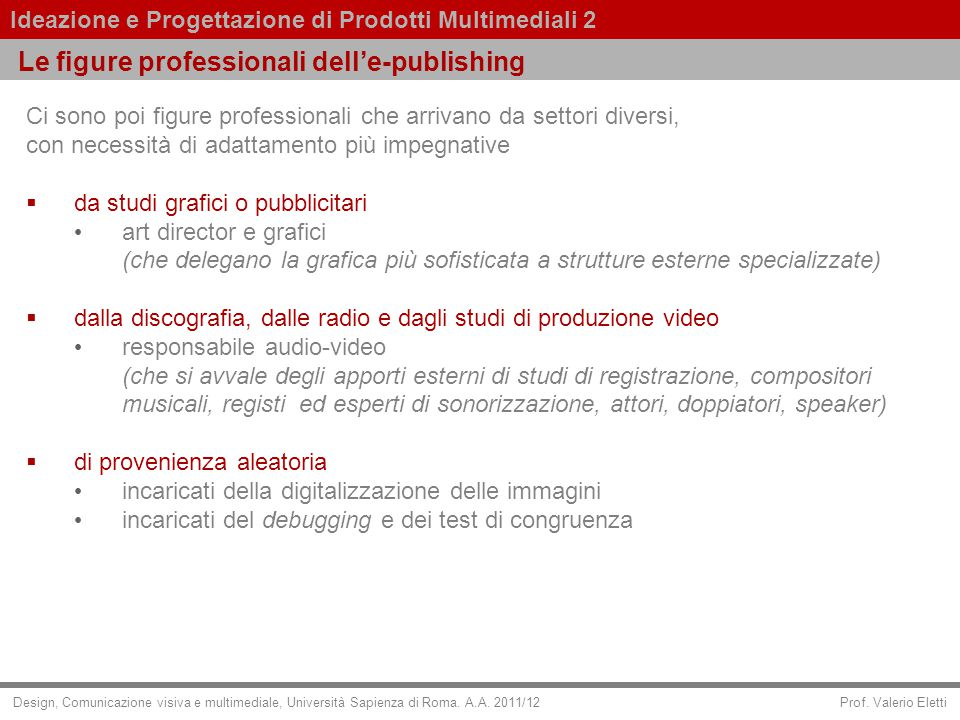 Le figure professionali dell'e-publishing