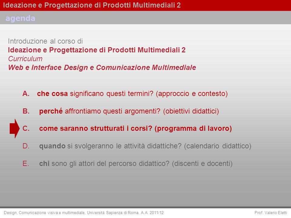 agenda Introduzione al corso di. Ideazione e Progettazione di Prodotti Multimediali 2. Curriculum.