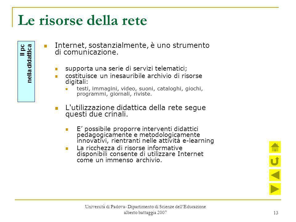 Le risorse della rete Internet, sostanzialmente, è uno strumento di comunicazione. supporta una serie di servizi telematici;