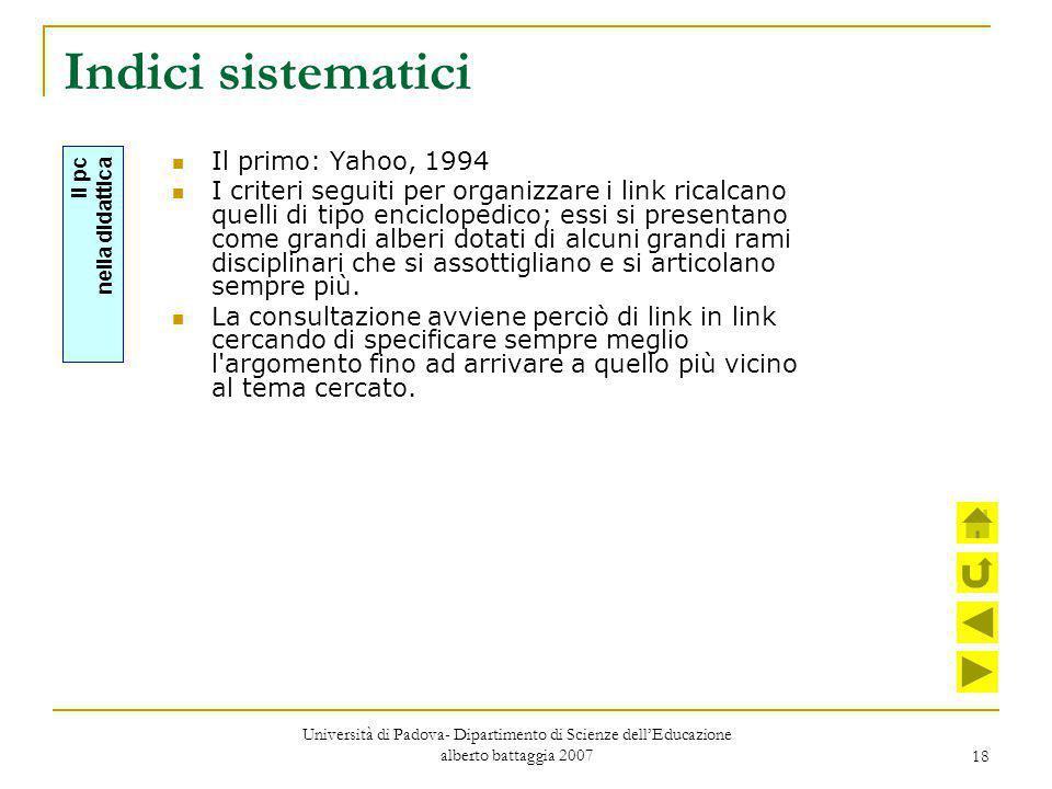 Indici sistematici Il primo: Yahoo, 1994