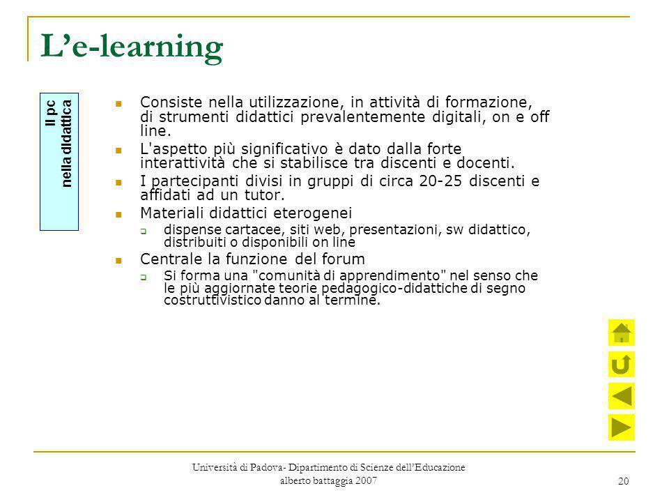 L'e-learning Consiste nella utilizzazione, in attività di formazione, di strumenti didattici prevalentemente digitali, on e off line.