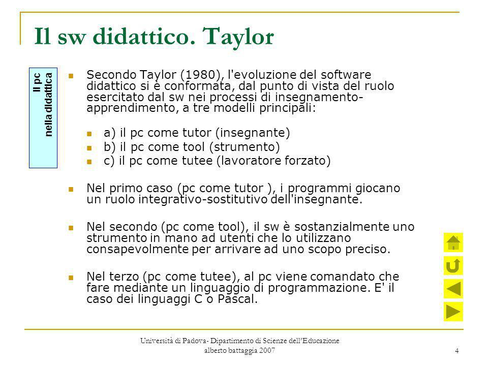 Il sw didattico. Taylor